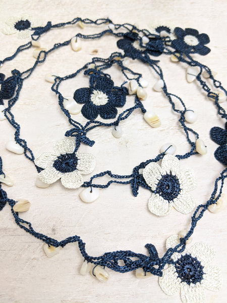 Navy Blue and Off White Crocheted Lariat Necklace