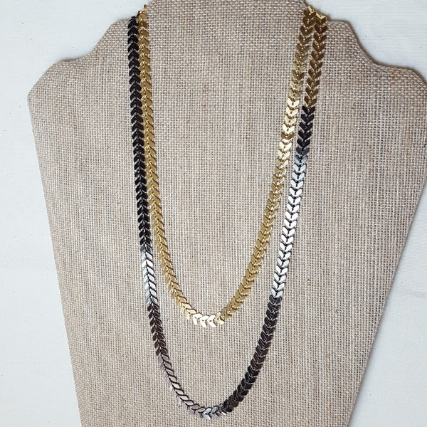 gold and black arrow necklace double layered