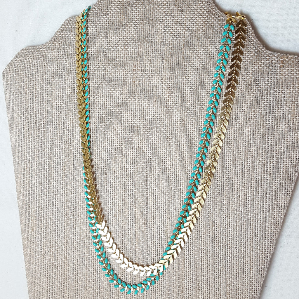 gold and turquoise arrow necklace double layered