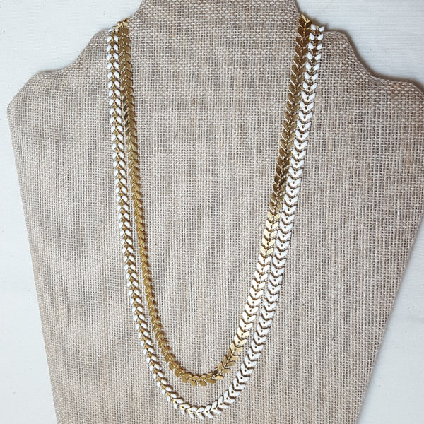 gold and white arrow necklace double layered