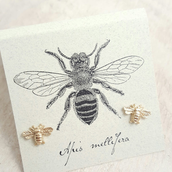 Gold Bee earring card