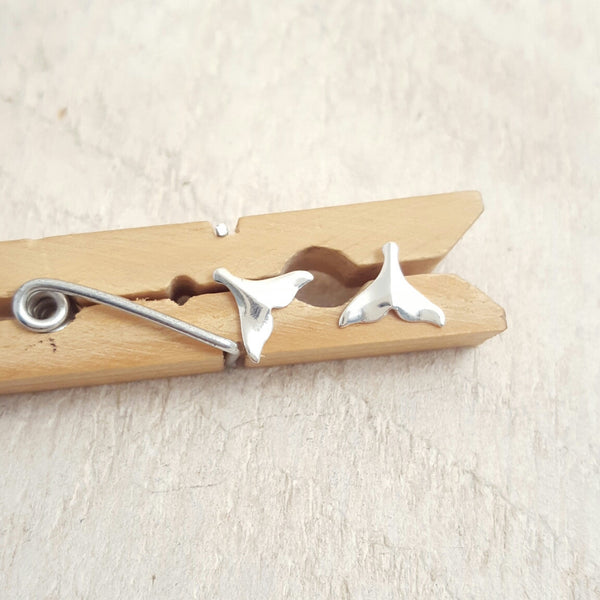 Silver Whale Tail Studs