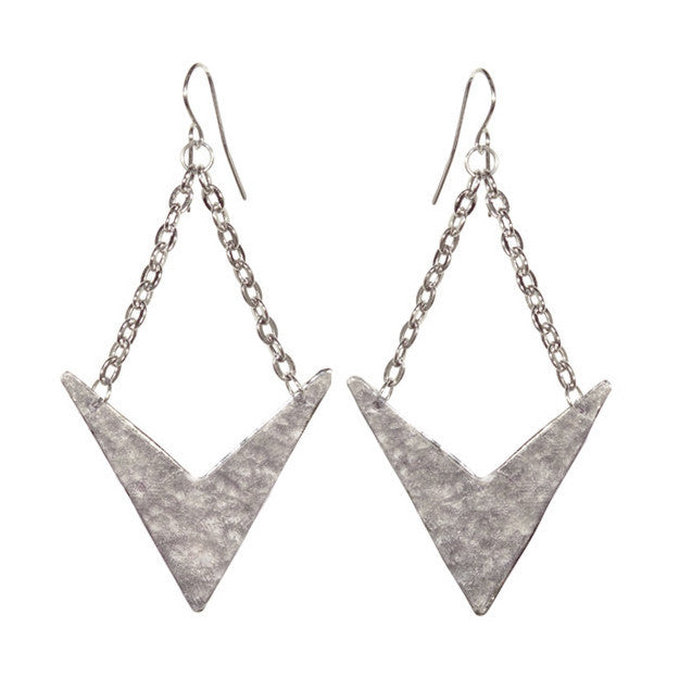 Aztec Drop Earrings Silver
