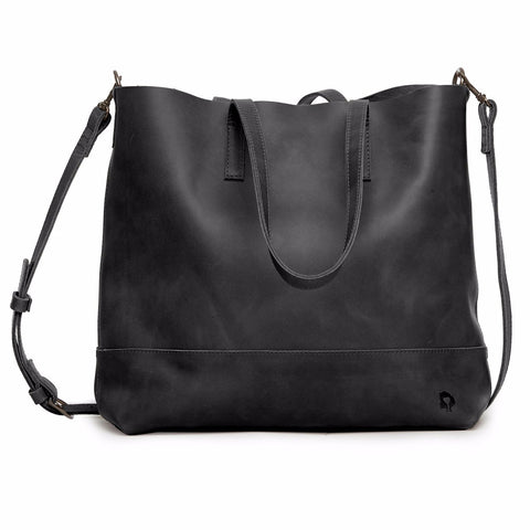 Abera Leather Crossbody Tote Black