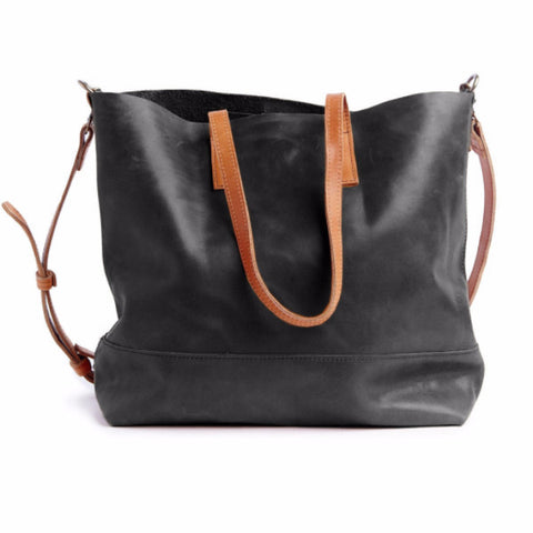 Abera Leather Crossbody Tote Black Cognac