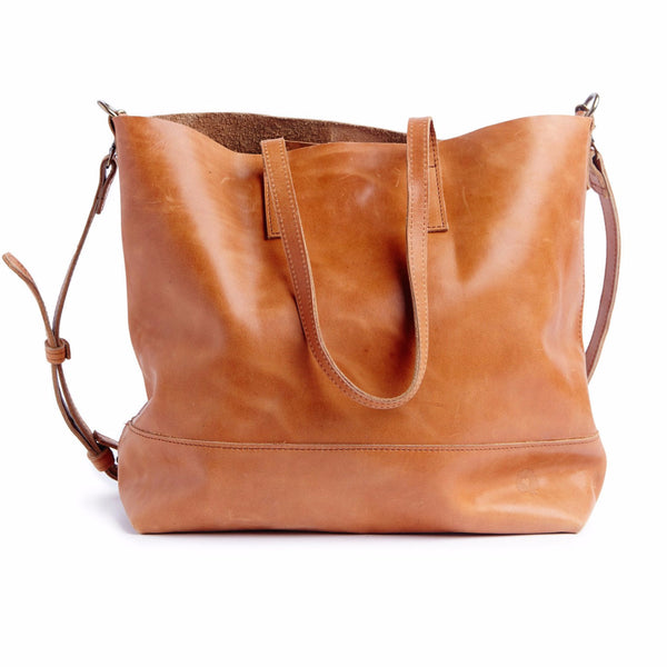 Abera Leather Crossbody Tote Cognac
