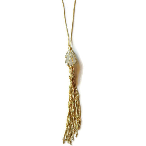 Gold + White Tassel Necklace