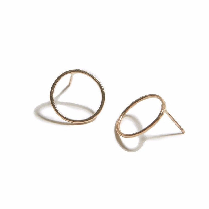 Hammered Circle Earrings Gold