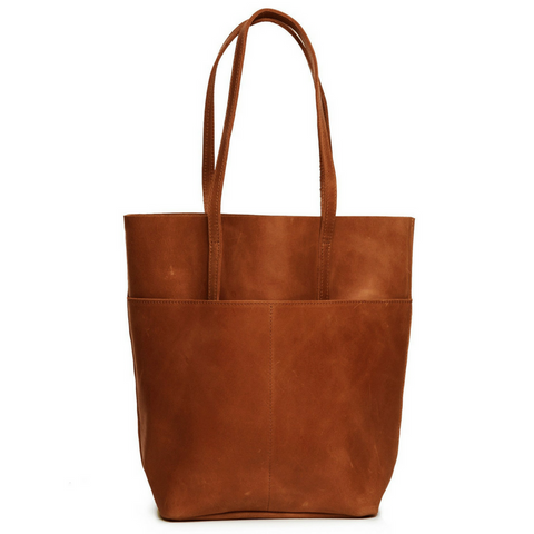 Selam Magazine Leather Tote Chestnut