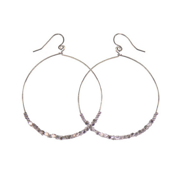 Shimmer Hoop Earrings Silver