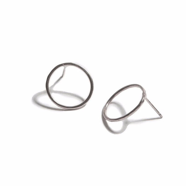 Hammered Circle Earrings Silver