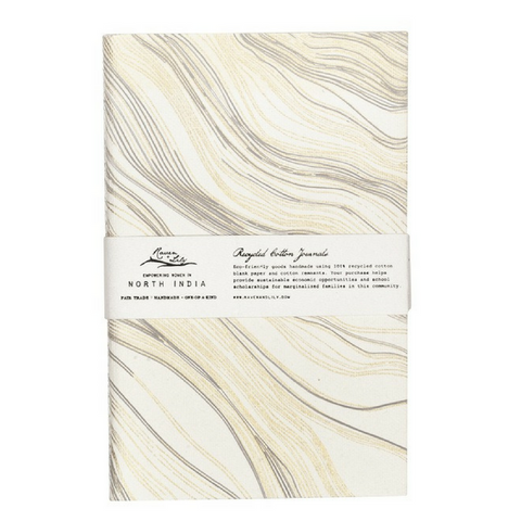 Uzma Recycled Cotton Journal Gold Wood Grain
