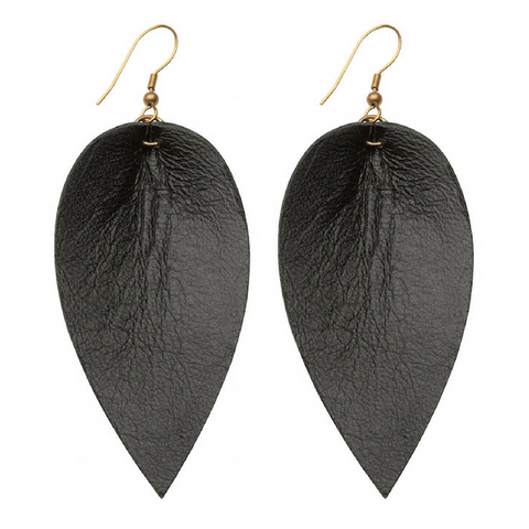 Zia Leaf Earrings Black
