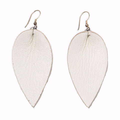 Zia Leaf Earrings White
