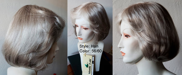 RX HAN 100% Hand tied, Lite Weight, Fine Monofilamant with non slip silicon tabs Prosthetic Wig