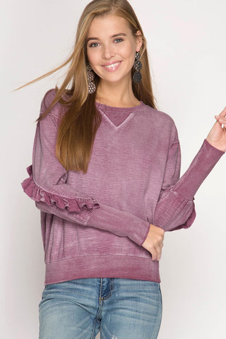 Long Sleeve Mineral Washed Top with Ruffled Sleeves in Dusty Mauve - Sweet as Jelly