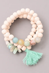 Mixed Stones & Tassels Bracelet Set in Mint - Sweet as Jelly