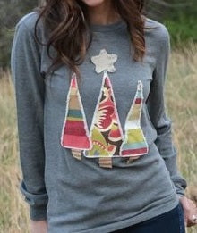 Grey Christmas Tree Applique Thermal Shirt - Sweet as Jelly