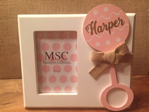 Baby Girl Rattle Picture Frame - Personalized - Sweet as Jelly