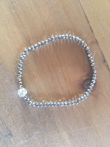 Dainty Dark Grey Crystal Stretch Bracelet - Sweet as Jelly