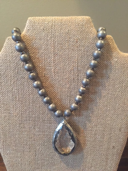 Grey Stone Bead Neckace with Clear Teardrop Stone - Sweet as Jelly