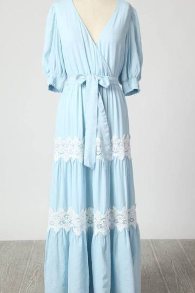 Light Blue Maxi Dress with Crochet Trim - Sweet as Jelly