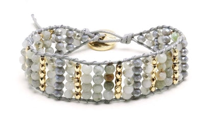 Grey Crystal and Natural Stone Toggle Bracelet - Sweet as Jelly
