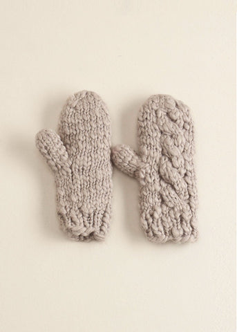 Gray Striped Knit Mittens Gloves - Sweet as Jelly
