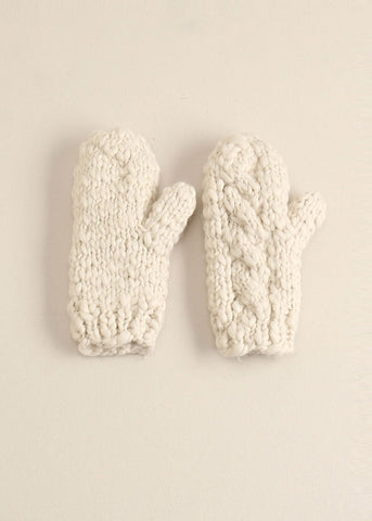 Ivory Striped Knit Mittens Gloves - Sweet as Jelly