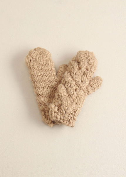 Taupe Striped Knit Mittens Gloves - Sweet as Jelly