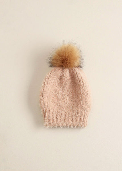 Solid Eyelash Beanie Pompom Hat - Toboggan in Blush - Sweet as Jelly