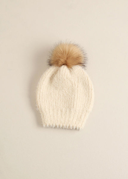 Solid Eyelash Beanie Pom Pom Hat - Toboggan in Ivory - Sweet as Jelly