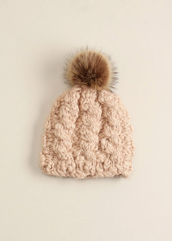 Striped Knit Fur Pompom Hat - Toboggan in Blush - Sweet as Jelly