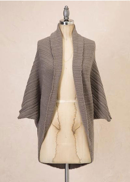 Ribbed Pattern Cocoon Kimono - Sweet as Jelly
