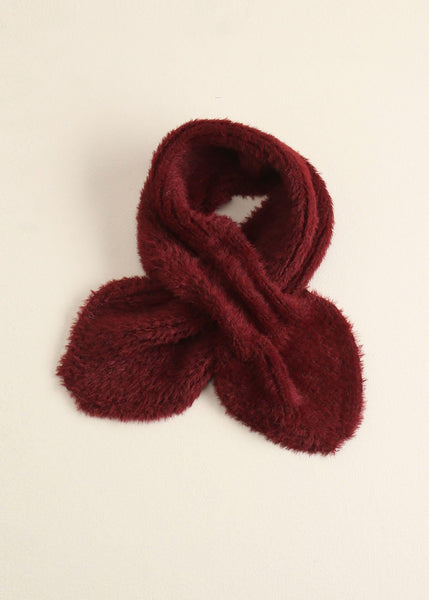 Solid Eyelash Keyhole Scarf - Burgandy - Sweet as Jelly