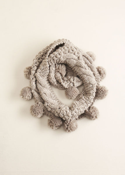 Cable Knit Pompom Infinity Scarf in Gray - Sweet as Jelly