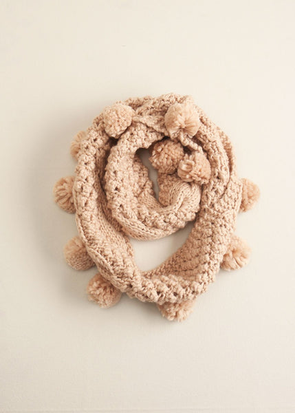 Cable Knit Pompom Infinity Scarf in Blush - Sweet as Jelly