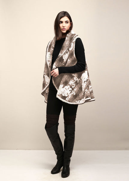Floral Embossed Shawl Vest (Taupe/White) - Sweet as Jelly
