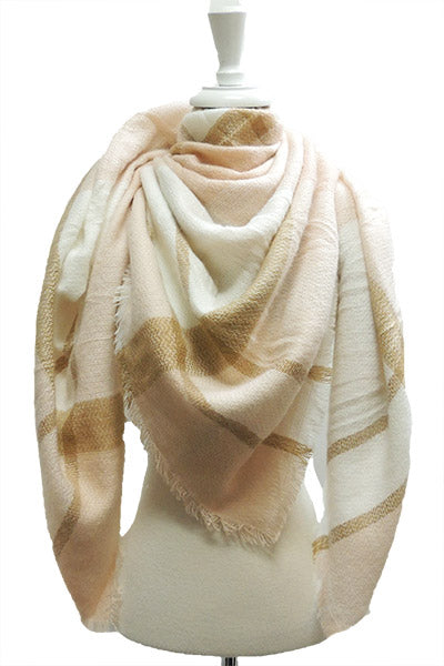 Pink & Taupe Blanket Scarf - Sweet as Jelly