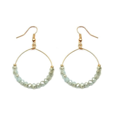 Mint Crystal Hoop Earring - Sweet as Jelly