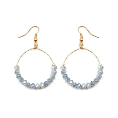 Grey Crystal Hoop Earring - Sweet as Jelly