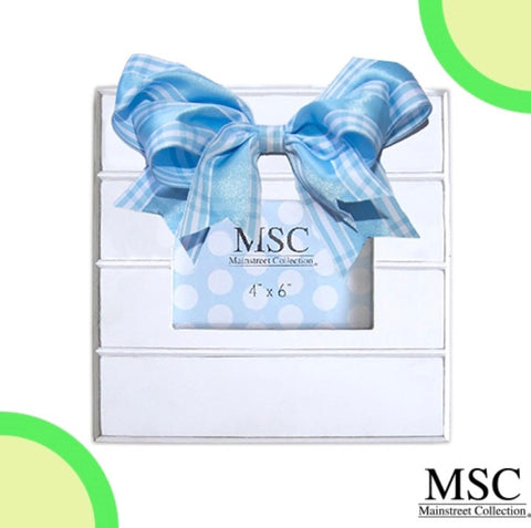 Blue Plaid Bow Picture Frame - Sweet as Jelly