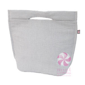 Gray Seersucker Snack Tote/Lizzi Lunch Box - Sweet as Jelly