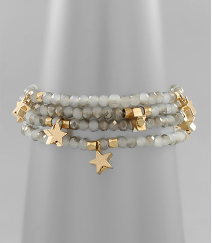 Gray Beaded Gold Star Bracelet