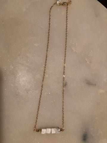 White Four Cube Marble Necklace