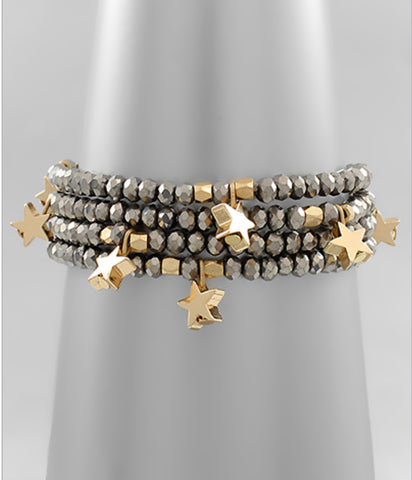 Hematite Beaded Gold Star Bracelet