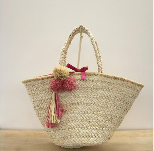 Pom pom straw beach tote - Sweet as Jelly