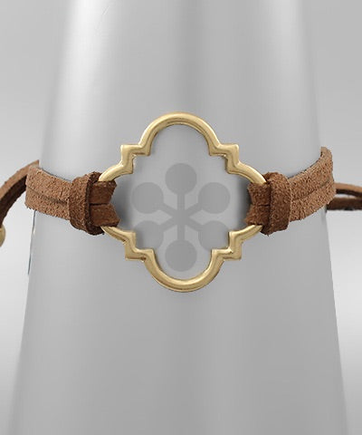 Gold Quatrefoil Cut-Out Bracelet (adjustable) - Sweet as Jelly