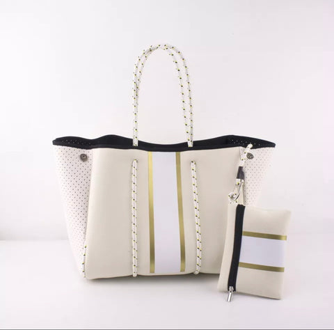 Neoprene Bag Large - gold and white