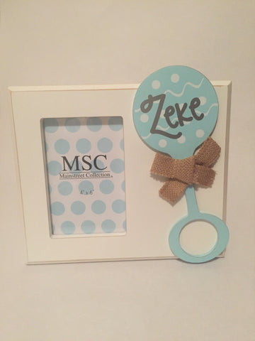 Baby Boy Rattle Picture Frame - Personalized - Sweet as Jelly